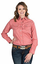 Wired Heart Women's Solid Coral with Long Sleeves Western Snap Shirt