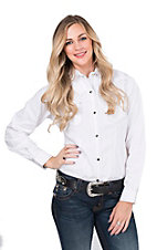 Wired Heart Women's Solid White Long Sleeve Western Snap Shirt