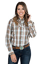 Wired Heart Women's Turquoise and Brown Plaid Long Sleeve Retro Snap Shirt