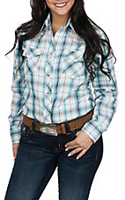 Cowgirl Legend Women's White, Turquoise and Pink Plaid w/ Embroidery L/S Western Snap Shirt