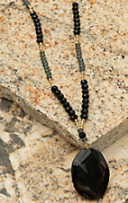 Pannee Black Agate Drop Pendant Grey & Black Beaded Necklace
