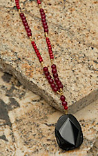Pannee Black Agate Drop Pendant Red Beaded Necklace