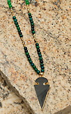 Pannee Black Stone Arrow Head Pendant with Teal & Green Beaded Chain Necklace