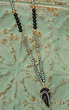 Pannee Black Stone Arrow Head Pendant with Crystal Beaded Chain Necklace