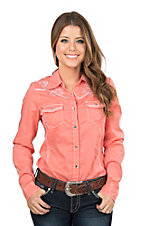 Cowgirl Legend Women's Coral with Embroidered Details Long Sleeve Western Snap Shirt