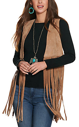 Cowgirl Legend Women's Tan with Fringe and Studded Cross Leather Vest