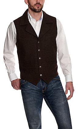 Cavenders Men's Chocolate Brown Wool Vest