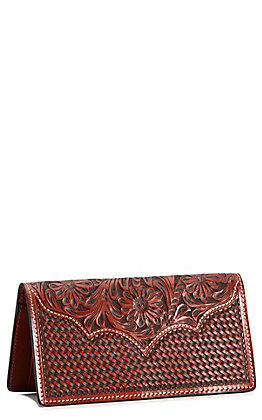 b7ffa54b6 Cowboy Chrome Brown Floral Tooled Rodeo Wallet