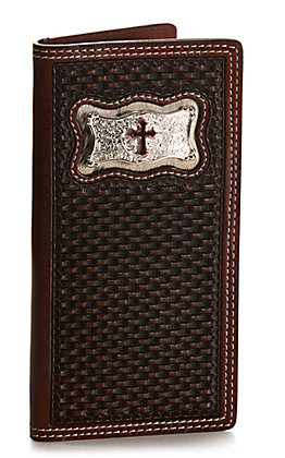 Cowboy Chrome Men's Dark Brown Basketweave with Cross Concho Rodeo Wallet