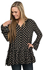 PPLA Women's Black with Cream Floral Print Tiered Bell 3/4 Sleeve Tunic Fashion Top