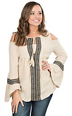 PPLA Women's Taupe with Black and Grey Taping Cold Shoulder Long Bell Sleeve Fashion Top