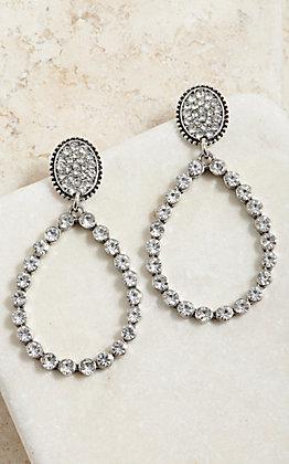 Wired Heart Women's Silver Teardrop Cut Out Bling Crystal Stud Earrings