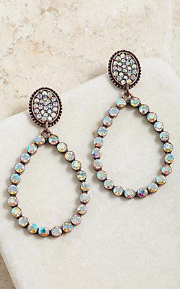 Wired Heart Women's Bronze Teardrop Cut Out Bling Crystal Stud Earrings