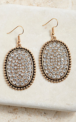 OVAL BLING GOLD/SLVR BLING DANGLE EARRING