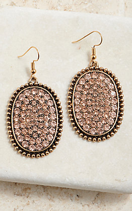 Wired Heart Women's Bronze Oval Champagne Bling Dangle Earrings