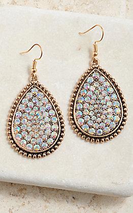 Wired Heart Women's Gold Teardrop Silver Bling Dangle Earrings