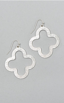 Laminin Cedar Hammered Silver Quatrefoil Earrings