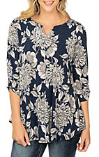 James C Women's Navy and Grey Floral Print Fashion Shirt