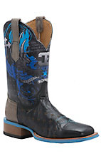 Cinch Edge Men's Black Volcano Goat with Print Warrior Top Square Toe Western Boots
