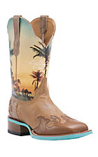 Cinch Edge Men's Camel Volcano Goat with Wingtip & Island Print Top Square Toe Western Boots