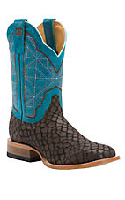 Cinch Edge Men's Brown Puzzle with Rice Turquoise Top Square Toe Western Boots