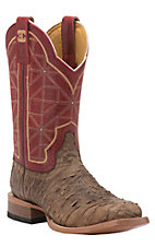 Cinch Men's Distressed Brown Rio with Rice Red Top Square Toe Western Boots