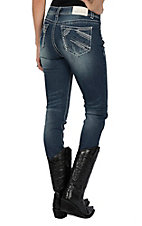 Charme Women's Dark Wash Heavy Pocket Stitching Easy Fit Skinny Jeans