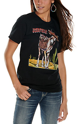 XOXO Art Co. Women's Black Cervesa Burro Graphic Short Sleeve T-Shirt
