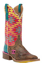 Cinch Women's El Paso Tan with Multicolor Aztec Printed Top Square Toe Western Boots
