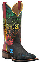 Cinch Women's Disco Chocolate with Black Wingtip & Multicolor Printed Top Square Toe Western Boots