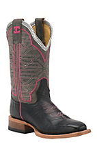 Cinch Women's Black Eel Print with Mad Dog Grey Top Square Toe Western Boots