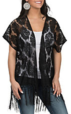 Anne French Women's Black Lace with Fringe Kimono