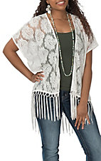 Anne French Women's White Lace with Fringe Kimono