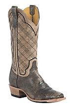 Cinch Men's Vintage Chocolate Cowhide with Burnished Bone Goat Upper Square Toe Western Boots