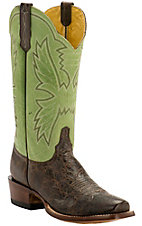 Cinch Men's Mocha Bison with Viena Kiwi Goat Upper Square Toe Western Boots