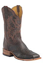 Cinch Men's Chocolate Mad Dog Goat with Antique Brown Caiman Wingtip Exotic Square Toe Western Boots