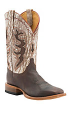 XKH Cinch Men's Chocolate Goat with Distressed Ivory Top Square Toe Western Boots