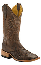 Cinch Ladies Chocolate Mad Dog Goat with Chocolate Caiman Wingtip Exotic Square Toe Western Boots