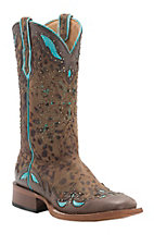Cinch Women's Cheetah Print with Brown & Turquoise Wingtip Square Toe Western Boots