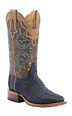 Cinch Women's Navy Python with Metallic Splatter Top Square Toe Western Boots