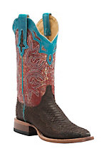 Cinch Women's Chocolate Python with Metallic Splatter Top Square Toe Western Boots