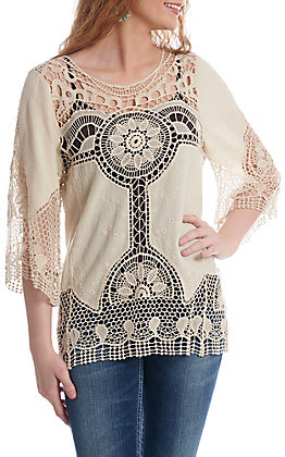 Anne French Cream with Crochet Bell Sleeve Fashion Top