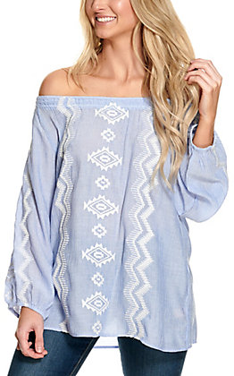 Magnolia Lane Women's Blue with White Aztec Embroidery 3/4 Sleeves Fashion Top