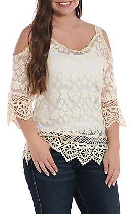 Anne French Women's Natural Lace Cold Shoulder Fashion Top