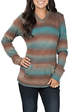 Anne French Women's Teal and Brown Ombree Hoodie