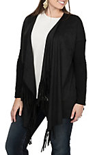 Anne French Women's Black Fringed Cardigan