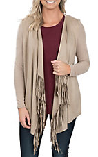 Anne French Women's Tan Fringed Cardigan
