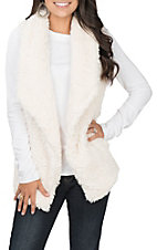 Anne French Women's Cream Faux Fur Vest