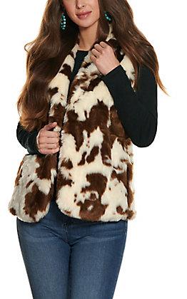 Magnolia Lane Women's Cow Print Faux Fur Vest