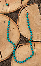 Wear N.E. Wear Turquoise Beaded with Brown Rope Chain Necklace